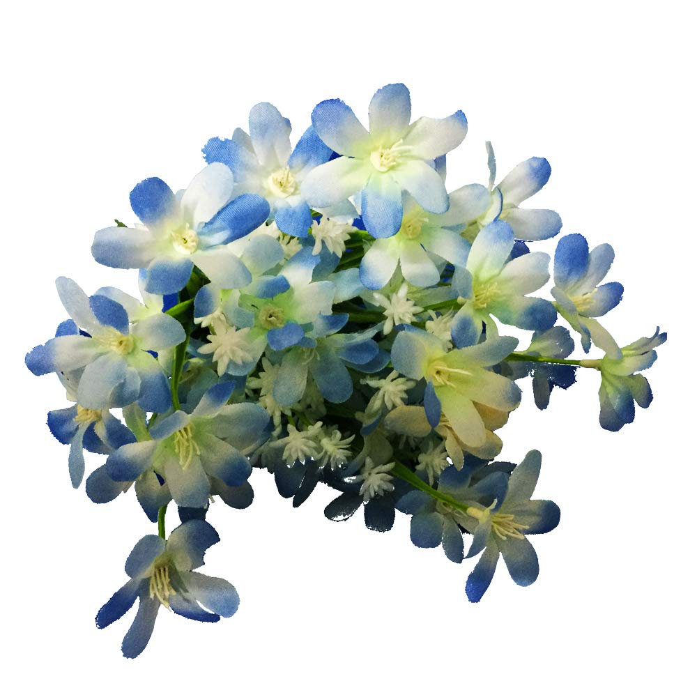 Blue KAYAN 9 Heads Artificial Silk Fake Flowers Leaf Lily Wedding Floral Home Decor Bouquet Birthday Party DIY