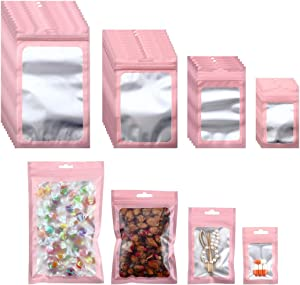 Beilecy 120 Pcs Smell Proof Bags Resealable Foil Pouch with Window and Euro Hang Hole Odorless Mylar Bags Heat Seal Pouch Food Safe Storage, Airtight Ziplock,4 Sizes (Matte Pink)