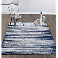 DIAGONA DESIGNS Contemporary Stripes Design Area Rug, Navy/Teal/Beige