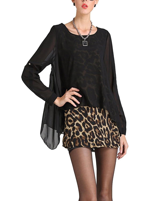 SaiDeng Damen Elegant Lange Ärmel Leopard kurzen Chiffon Kleid
