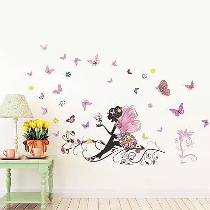 Ufengke® Bella Farfalla Fata Adesivi Murali, Camera Da Letto Soggiorno  Adesivi Da Parete Removibili Stickers Murali Decorazione Murale