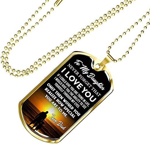 Jewelry Pendant from Dad and Mom for Child Silver//18k Gold Plated Girl iGifts to Our Daughter Dog Tag Luxury Necklace Chain