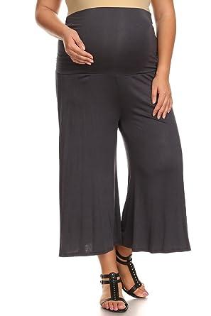 87ee13edf8241 PB COUTURE Womens Plus Size Gaucho Maternity Capri Pants Culotte Charcoal  Gray 1X