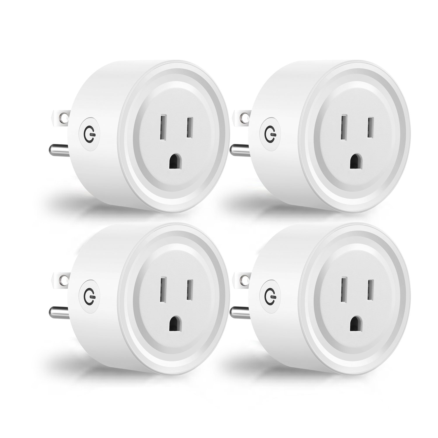 ACOMPATIBLE Wi-Fi Smart Plug Works with Google Assistant and IFTTT – Remote Control Your Devices Anytime, Anywhere via Your Phone - Timing and Count Down (White 4 Pack)