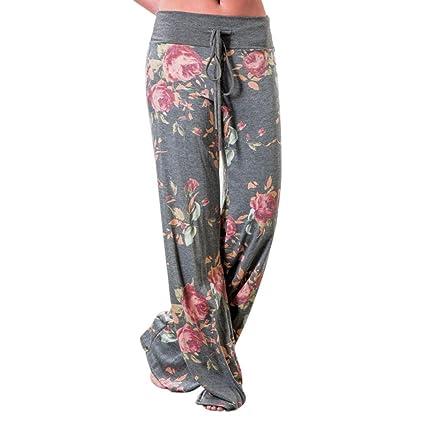 Pantalones de pijama informales para mujer, con estampado de flores, estilo palazzo, gris