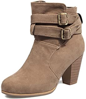 Women's Fashion Buckled Strap Round Toe Booties Chunky High Heel Pull On Ankle Boots Shoes
