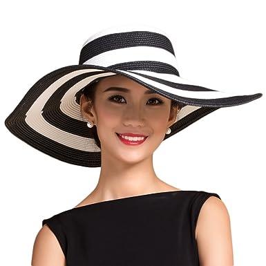 f47df173dab Leisial Elegant Women Lady Sun Hat Wide Brim Retro Stripes Straw Cap Summer  Beach Hat Adjustable and Breathable (Black)  Amazon.co.uk  Clothing