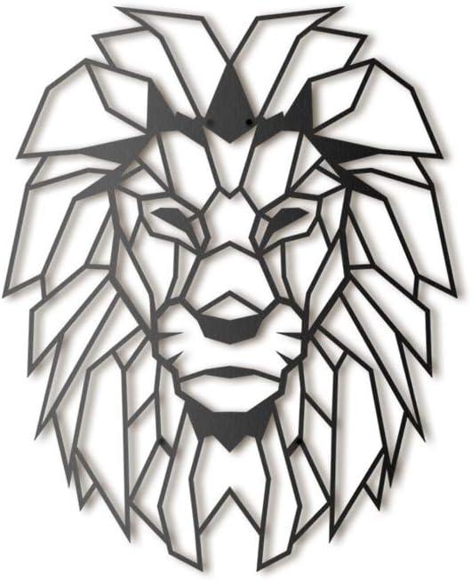Hoagard Lion Head Metal Wall Art - Decoración geométrica para Pared - León - Metal - 40x51cm