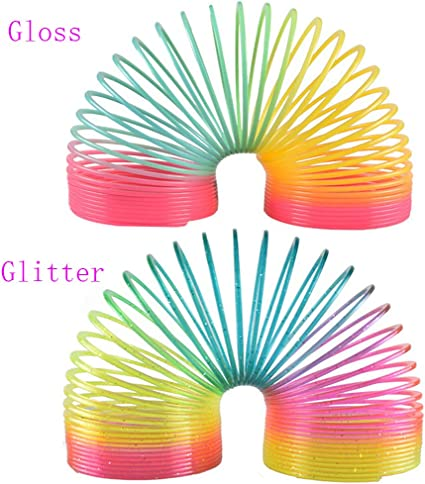 "2 pck Rainbow magic spring slinky plastic toy 3/"" diameter rainbow colors"