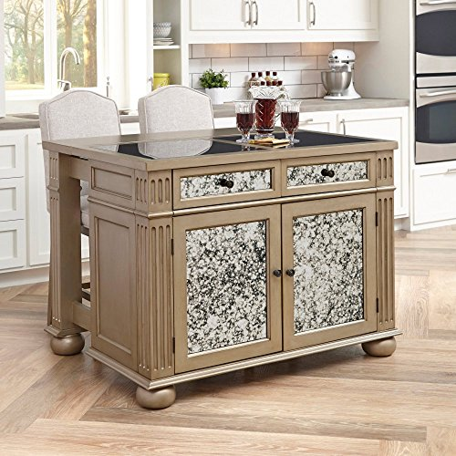 Home Styles 5576-948G Visions Kitchen Island and Two Stools