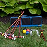 Best Cheap Family Croquet Set Game For Adults Kids- Great Set For Four Players- Top Seller Inexpensive Includes All Accessories: Mallets, Balls, Stakes, Wickets And Carrying Travel Bag- Real Wood