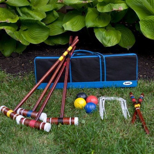 Best Cheap Family Croquet Set Game For Adults Kids- Great Set For Four Players- Top Seller Inexpensive Includes All Accessories: Mallets, Balls, Stakes, Wickets And Carrying Travel Bag- Real Wood by Generic