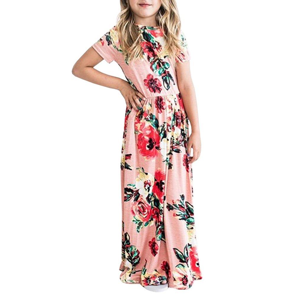 Girl Short Sleeve Flower Pattern Dress Fashionable High Waist Elegant Long Maxi Dress OUYAWEI