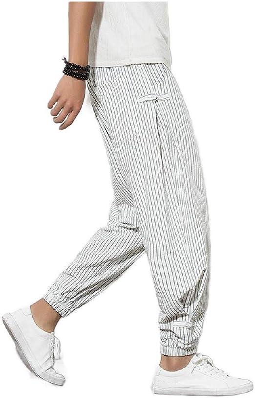 Candiyer Men Harem Pants Plus Size Thin Cotton Linen Breathable Leg Pants