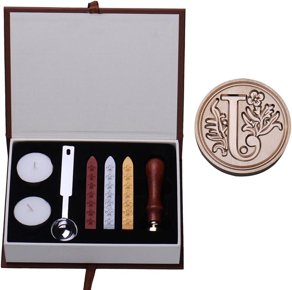 Vintage-Look Messing-Siegel mit Rosenholz-Griff Ming Siegelstempel-Set mit lateinischen Buchstaben Buchstaben A-Z erh/ältlich Type W mit Siegelwachs