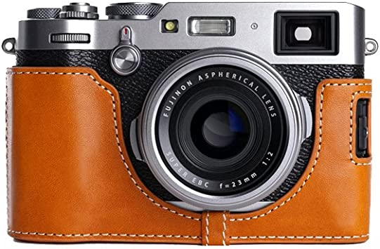 Genuine Real Leather Half Camera Case Bag Cover for FUJIFILM X100F Dark Brown