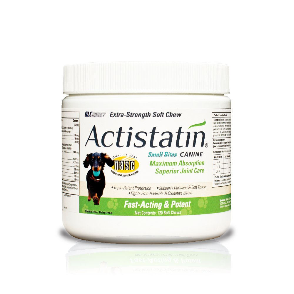 Actistatin Canine Small Dog Soft Chews, 120ct – Patented Extra-Strength Joint, Cartilage, Soft Tissue Supplement: Glucosamine, Chondroitin, Manganese, MSM, L-Carnitine – High Absorption, Fast Results