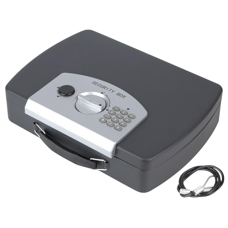 HMF 1608-02 Caja fuerte para documentos, Caja de caudales, cerradura electró nica con cable metá lico, 33 x 29,5 x 7,5 cm cerradura electrónica con cable metálico