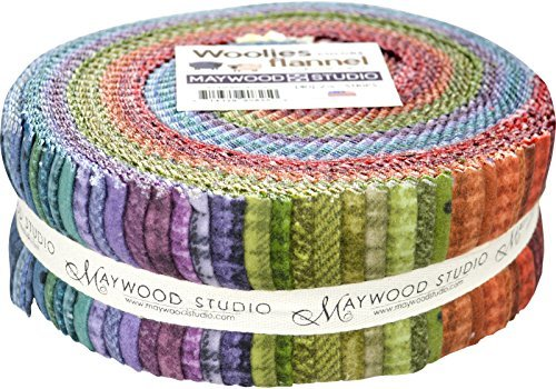 Woolies Flannel Colors Assortment 40 - 2.5'' Strips by Bonnie Sullivan from Maywood Studios ST/MASWOF-COL by Maywood Studio