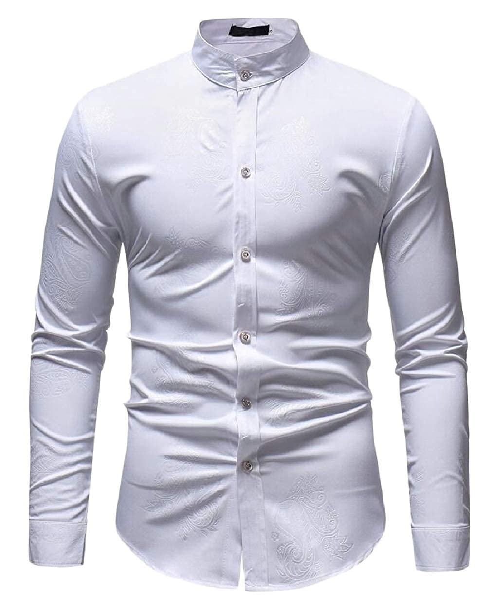 ZXFHZS Mens Solid Color Patterns Long Sleeve Stand Collar Button Front Shirts