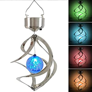 Kangler Solar Wind Chime LED Colour Changing Hanging Wind Light Waterproof Spiral Spinner Lamp for Garden Yard Lawn Balcony Porch
