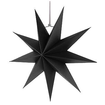 Stern Weihnachten.Gazechimp Hänge Deko Aus Papier 3d Sterne Form Für Weihnachten Halloween Party Schwarz 30 Cm