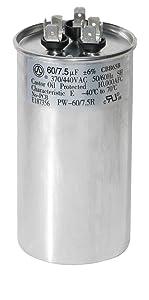 PowerWell 60+7.5 uf MFD 370 or 440 Volt Dual Run Round Capacitor PW-60/7.5R Condenser Straight Cool/Heat Pump Air Conditioner