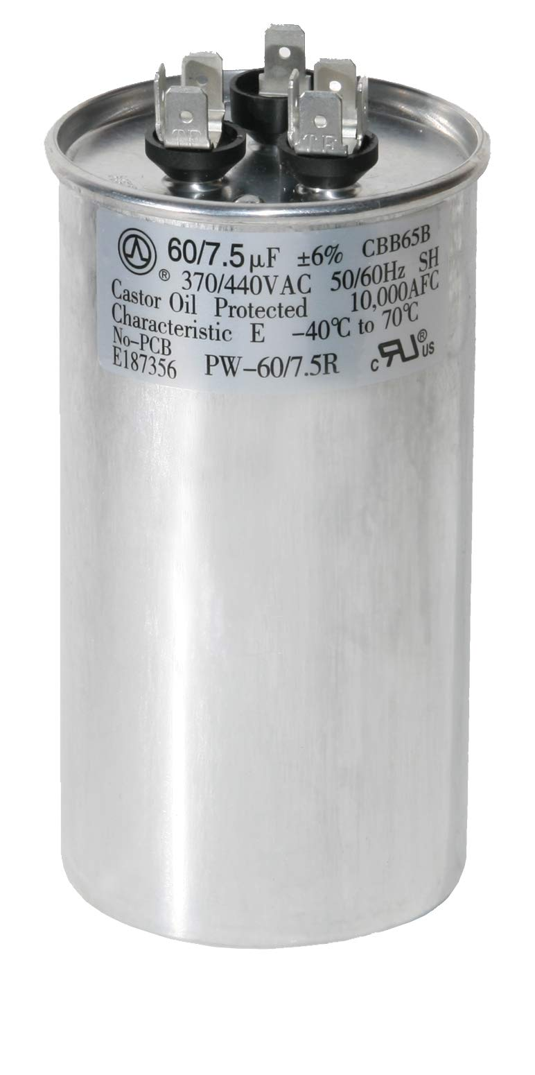 Best Rated In Capacitors Helpful Customer Reviews Duo Temp Thermostat 7 Wire Diagram Powerwell 60 75 Uf Mfd 370 Or 440 Volt Dual Run Round Capacitor Pw