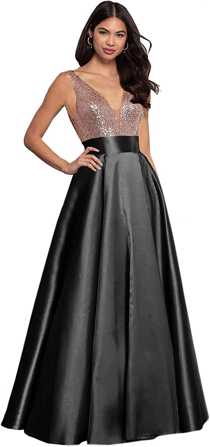 Vintage Sequin Dress Size 8 Black Blue Formal Holiday Sheer Party Gala Gown
