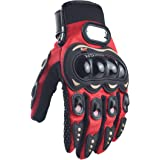 CHCYCLE Motorcycle Gloves Touch Screen Summer Motorbike powersports Protective Racing Gloves (L-Red)