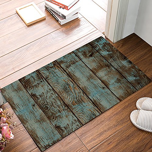 (Prime Leader Indoor Doormat Stylish Welcome Mat Rustic Wood Board Entrance Shoe Scrap Washable Apartment Office Floor Mats Front Doormats Non-Slip Bedroom Carpet Home Kitchen Rug 23.6