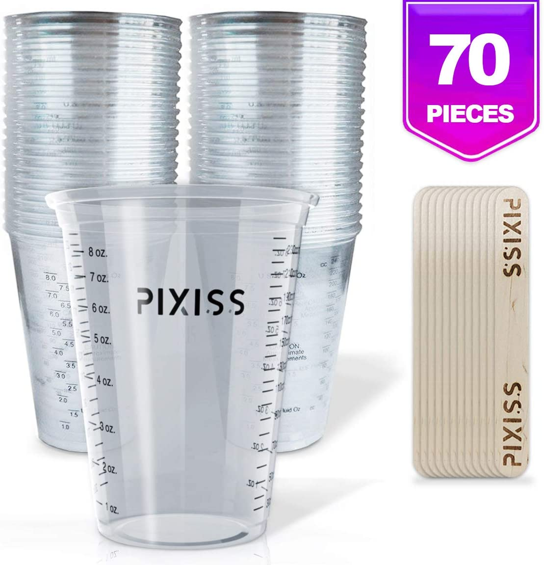 Disposable Epoxy Resin Mixing Cups Clear Plastic 10-Ounce 50-Pack For Measuring Paint Epoxy Resin Art Supplies - Graduated Measurements in ML and OZ