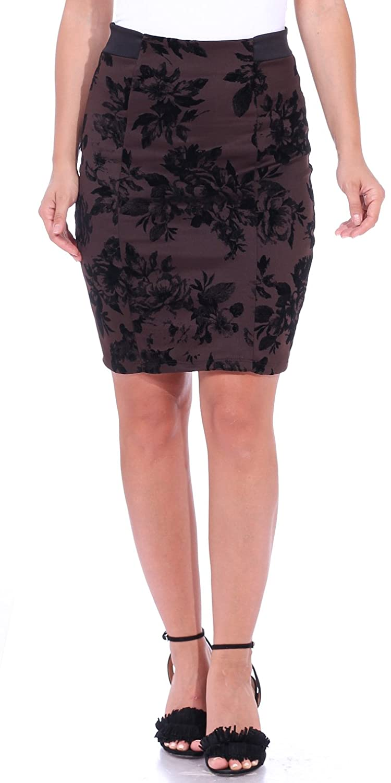 Popana Women's Stretch Pencil Skirt Knee Length High Waist for Work Made in USA 1011