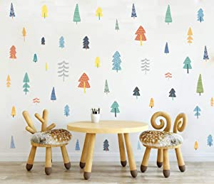 Colorful Woodland Trees Wall Decal Forest Trees Wall Sticker for Window Cling Decor and Nursery Decoration(57pcs Multicolor Decals )
