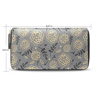 54fe132b6bfc Rose Gold Simple Gray Flowers Women's New Purse Zipper Purse Clutch ...
