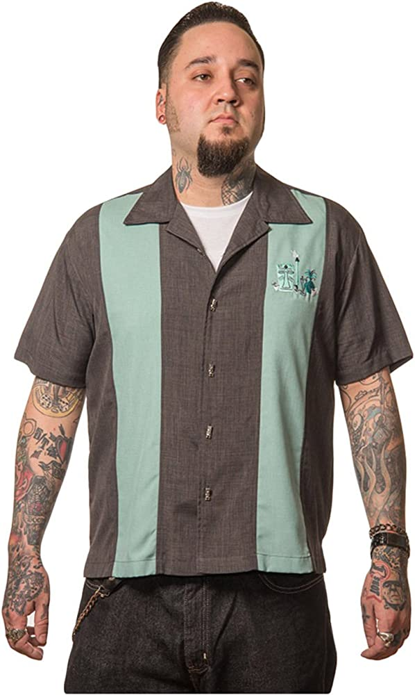 Steady Clothing Hombre Vintage Bowling camisa Tiki – The Mickey Retro Bolos Camiseta Gris/Verde gris Medium: Amazon.es: Ropa y accesorios