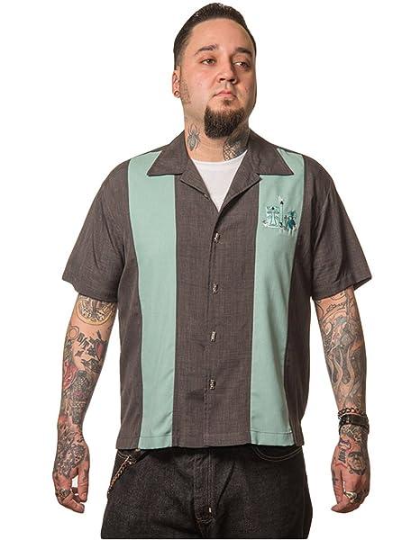 Steady Clothing Hombre Vintage Bowling camisa Tiki – The Mickey Retro Bolos Camiseta Gris/Verde gris Medium: Amazon.es: Ropa y accesorios
