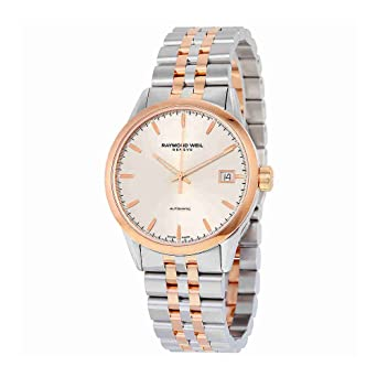 amazon com raymond weil lancer automatic silver dial two tone raymond weil lancer automatic silver dial two tone mens watch 2740 sp5 65011