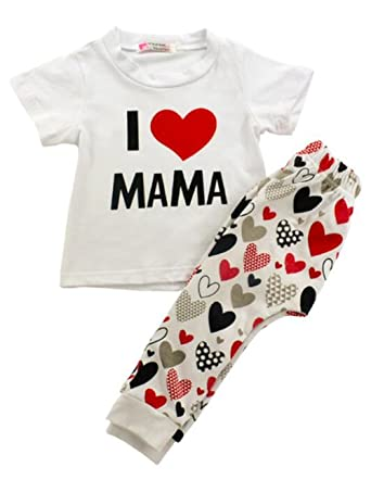 f84e5e3f0 Amazon.com  UNIQUEONE 2Pcs Infant Baby Girl Boy Clothes T-Shirt Tops ...