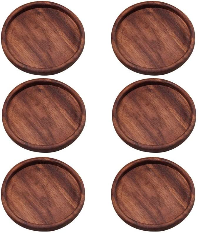 Wood Coasters for Drinks, 6 PCS Walnut Wooden Drink Coasters, Absorbent Heat Resistant Reusable Desk Coaster Tray for Home Office Table & Furniture Protection