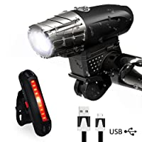 Karrong Bike Lights, LED Bike Light Set USB Rechargeable,Waterproof Front Bicycle Lights Headlight and Taillight,4 Modes Cycle Light Safety for Night