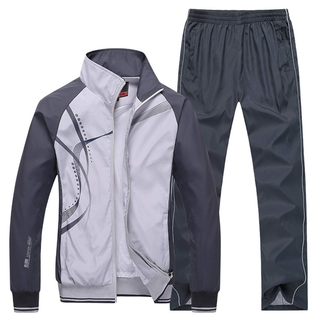 Modern Fantasy Men's Athletic Striped Tracksuit Joggers Running Sports Style Sweat Suits Set Grey S by Modern Fantasy