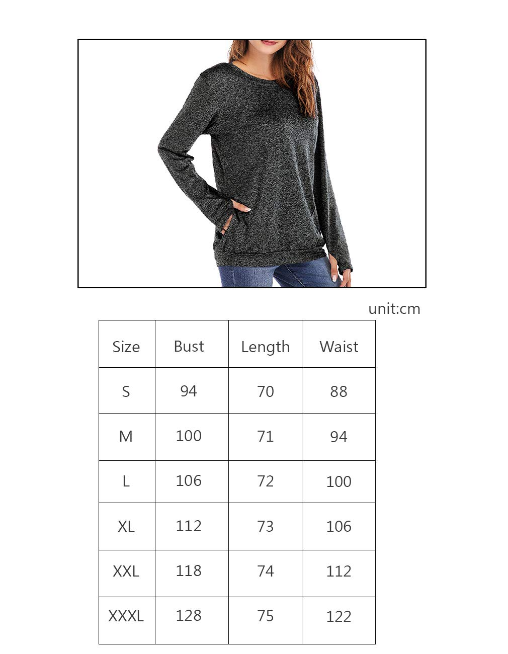 Defal Womens Long Sleeve Round Neck Quick-Dry Top T-Shirts Loose Gym Sports with Thumb Holes Pockets Fashion Tunic Blouse (Green,XXXL) by Defal (Image #4)