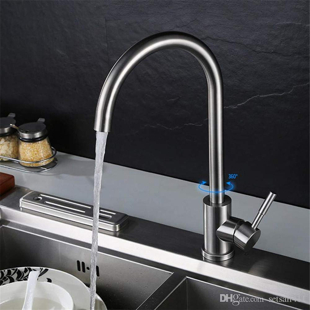 C Decorry Cold and Hot Water Kitchen Faucet 304 Stainless Steel Water Tap Kitchen Sink Faucets Brushed Finish Single Handle 1 Hole Taps A
