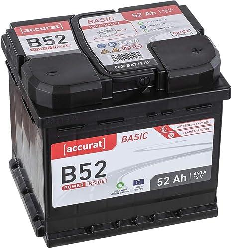 Accurat Autobatterie Starterbatterie B52 12v 52ah 460a Kaltstartstrom Blei Saure Ca Technologie Nassbatterie 30 Extra Startleistung Wartungsfrei Amazon De Auto
