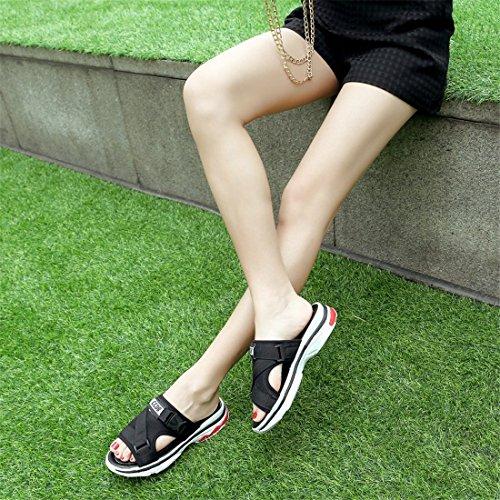 Sandalia Verano Elegante Los Sandalias para Black Plana Casual Deportivas de Estudiantes Pulsera PU Zapatillas y Mujer con Mujer versátil 4RxgRqS