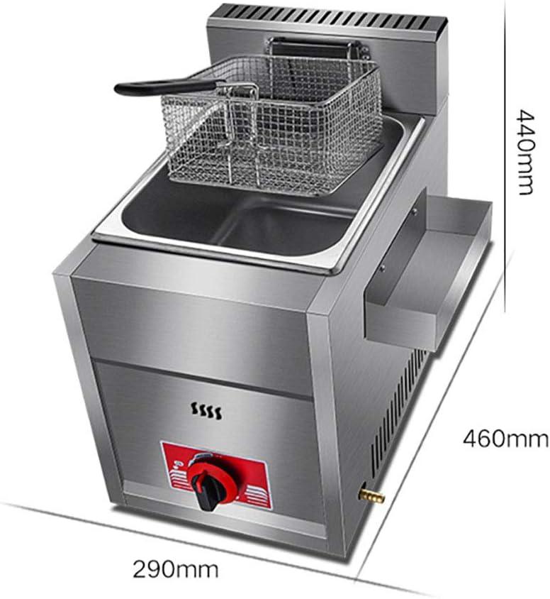 Freidora de gas 10L / 20L, freidora de chips, freidoras de grasa profunda para el hogar, sartén comercial, máquina de papas fritas, freidora cilíndrica de alas de pollo frito: Amazon.es: Hogar