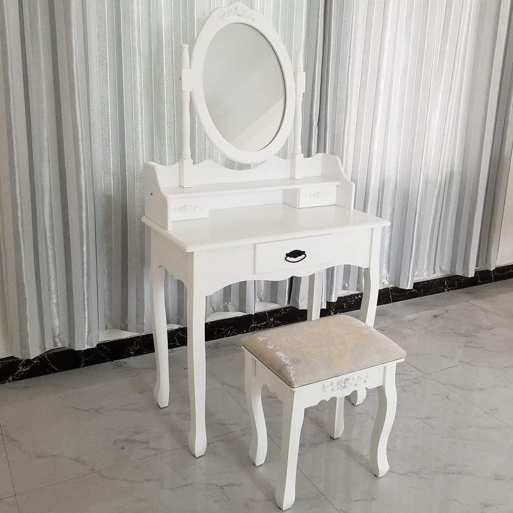 Joolihome Makeup Vanity White Table Set 3 Drawers Wood Bedroom Dressing Table Stool Set with Oval Mirror by Joolihome (Image #7)