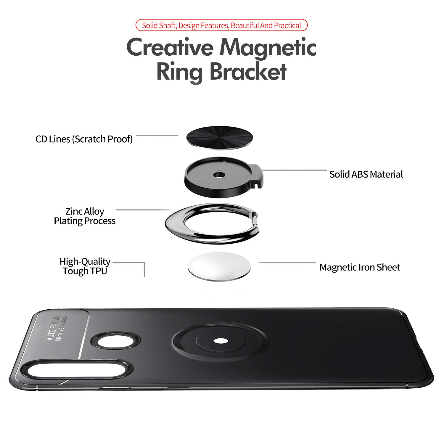Newseego Compatible with Samsung Galaxy A20S Case Frosting Thin Soft Protective and 360/° Adjustable Finger Ring Holder Kickstand Fit Magnetic Car Mount Cover for Samsung Galaxy A20S-Black+Rose