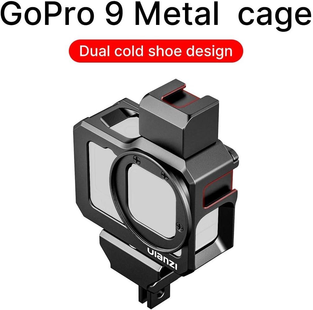 Compatible avec GoPro Hero 9 Noir ULANZI G9-5 Vlog Cage Bo/îtier en m/étal avec adaptateur de filtre et support Cold Shoe Mount